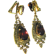 Rhinestone Drop Earrings, Filigree 60's Art Nouveau Revival