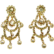 Crystal & Rhinestone Earrings 1980's, Vintage Chandelier