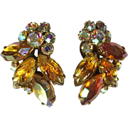 Fruit Salad Rhinestone Earrings, Vintage Ear Climber