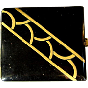 Art Deco Cigarette Case, Black & Cream, Vintage Enamel