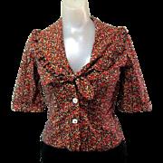 Boho Prairie Blouse, Cotton, Ruffles, Vintage 80's