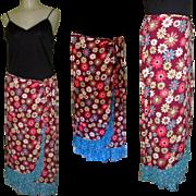 Festival Grunge Skirt, Vintage Peasant Floral Boho, Zoe