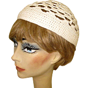 Vintage Lace Hat, Crocheted Cap, 60's