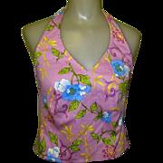 Vintage Halter Blouse, Fitted Lavender Floral, Designer 80's
