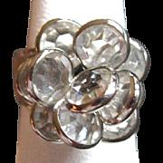 Vintage Crystal Ring. Floral Cluster, 18K Gold Plate, Vintage 80's