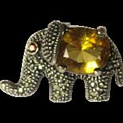 Vintage Sterling Pin, Elephant, Marcasites & Crystal