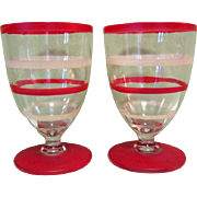 Art Deco Cordial Glasses, Appertif Pair, Red Striped