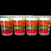 Art Deco Juice Glasses, Striped Set of 4