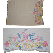 Vintage Linen Mother Table Runner, Embroidered Floral
