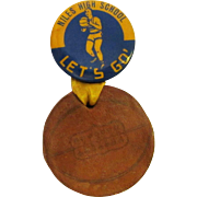 Niles East High School Basketball Button / Vintage Pin Back