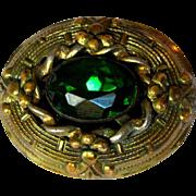 Art Nouveau Brooch, Vintage Art Glass Cabochon