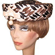 Vintage Hat, Cellophane Straw, Cream, Black & Brown, 50's