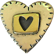 Sterling Heart Pin, Vintage 80's