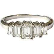 Diamond Platinum Ring, Emerald Cut, Vintage 1 ct.