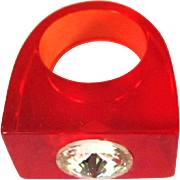 70's Lucite Ring, Rhinestone, Clear Cherry Red