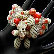 Vintage Bead Bracelet, Three Strands