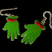 Vintage Earrings, Enamel Green Hands