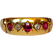 Ruby & Diamond Ring, 18K, Gypsy Star Set, 1927