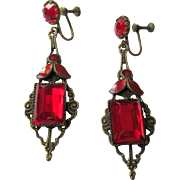 Filigree Drop Earrings, Deco Red Czech Glass