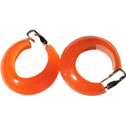 Vintage Lucite Hoop Earrings, 1960's Orange