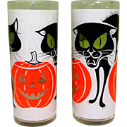 Black Cat Drinking Glasses, Vintage 1960's Halloween