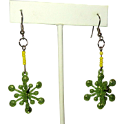 Snowflake Earrings, Vintage Green Sparkle