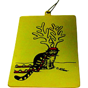 Vintage Kliban Cat Ornament, Brass 1980