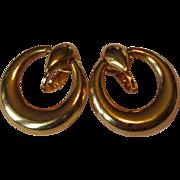 Vintage Hoop Earrings, Gold Toned, 1980's