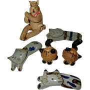 6 Pottery Cats, Vintage Figurals