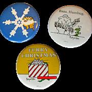 Vintage Boynton Christmas Buttons / Pinbacks, 1980's