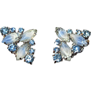 Vintage Blue Rhinestone Earrings, Givre Art Glass