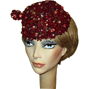 Vintage Beaded Hat, Sequins, Pill Box, 1950's