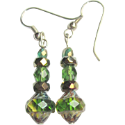 Drop Earrings, Vintage Czech Glass Beads & Swarovski Crystals
