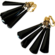 Vintage Drop Earrings, Jet Black Faceted Plastic & Filigree