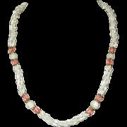 MOP & Coral Necklace, Vintage 80's