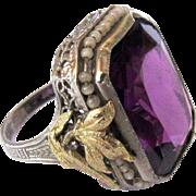 Art Nouveau Ring, Sterling Filigree & Paste