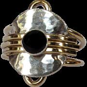 Vintage Sterling Ring, Gold Filled Trim