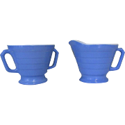 Moderntone Platonite Sugar & Creamer, Hazel-Atlas Glass Blue