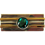 Sterling Bar Pin, Gold Filled, Vintage Art Glass