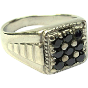 Vintage Sterling Ring, Men's, Rhinestone