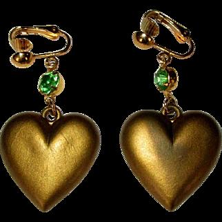 Heart Earrings, Vintage Drop Rhinestone