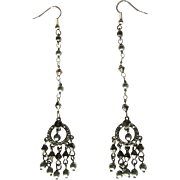 Vintage Rhinestone & Crystal Earrings, Shoulder Dusters