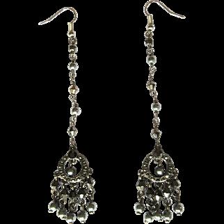 Vintage Rhinestone & Crystal Earrings, Shoulder Dusters