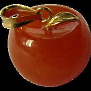 Carnelian Apple Charm / Pendant, Vintage, 14K