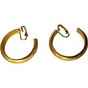 Vintage Hoop Earrings, Gold Toned Clip Ons
