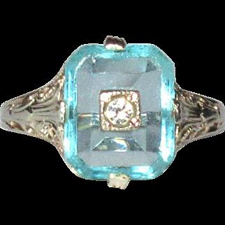 14K WG Filigree Ring, Synthetic Aqua, Art Deco
