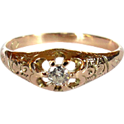 Victorian Rose Gold Diamond Ring, 10K Engagement