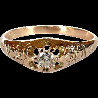 Victorian Rose Gold Diamond Ring, 10K Engagement