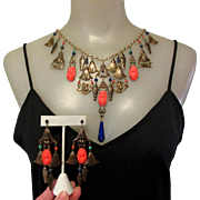 Egyptian Revival Set,  80's Sadie Green Necklace & Earrings.