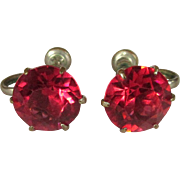 Vintage Crystal Earrings, Art Deco Pink Solitaires